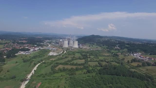 Wide-Angle Shot Of Power Plant : Stock Video