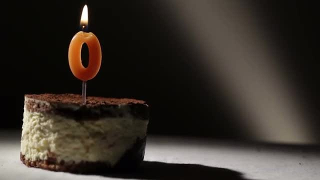 Candle On Tiramisu Birthday Cake: Stock Video