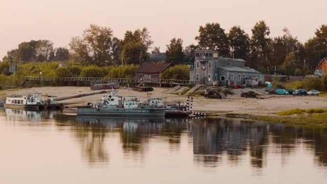 Old River Port At Sunset: Stock Video
