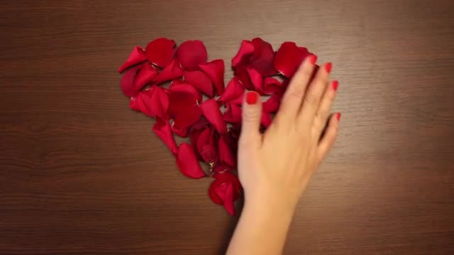 Rose Petals Heart Swept Away: Stock Video