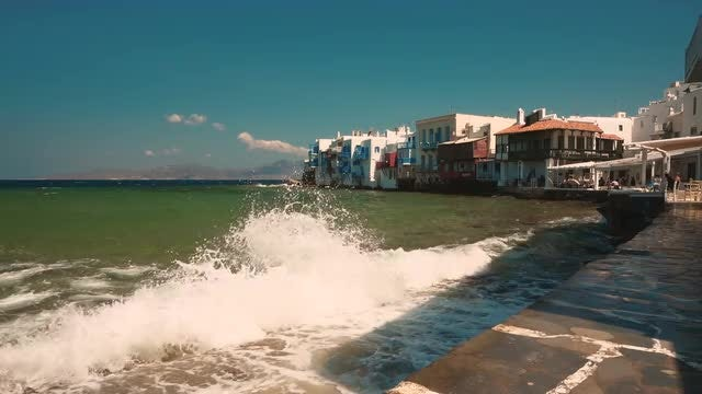 Little Venice Quarter In Mykonos: Stock Video