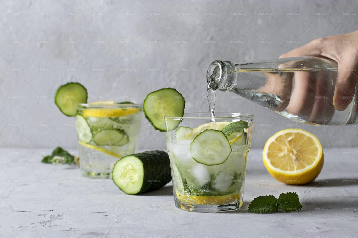 Drink With Mint, Lemon And Cucumber: Stock Photos