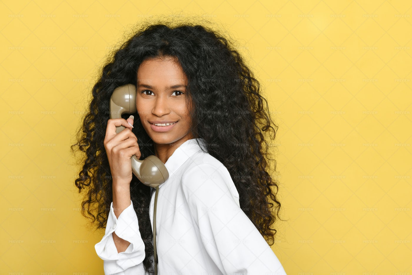 Woman With Vintage Telephone: Stock Photos