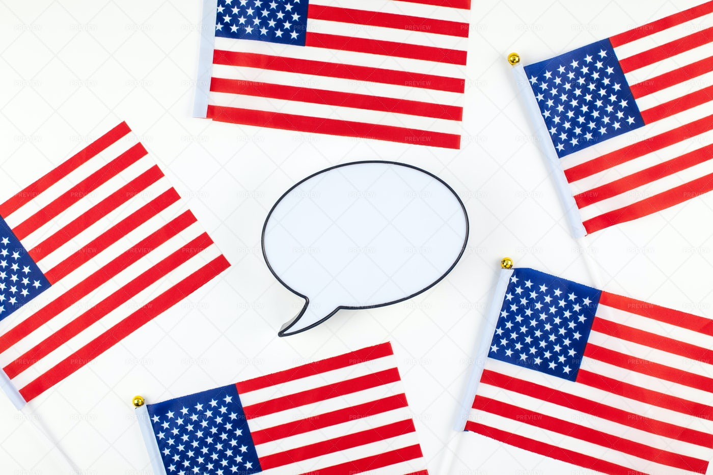 American Flags And Bubble Mockup: Stock Photos