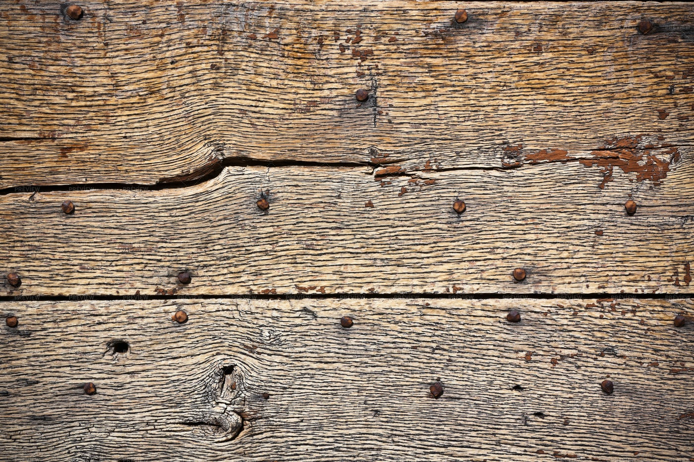 Wooden Surface With Old Rivets: Stock Photos