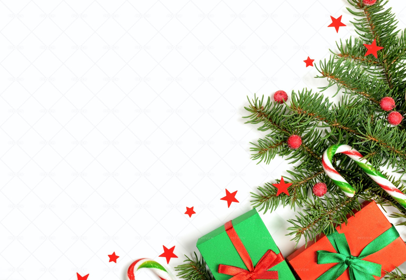 Christmas Composition On White.: Stock Photos