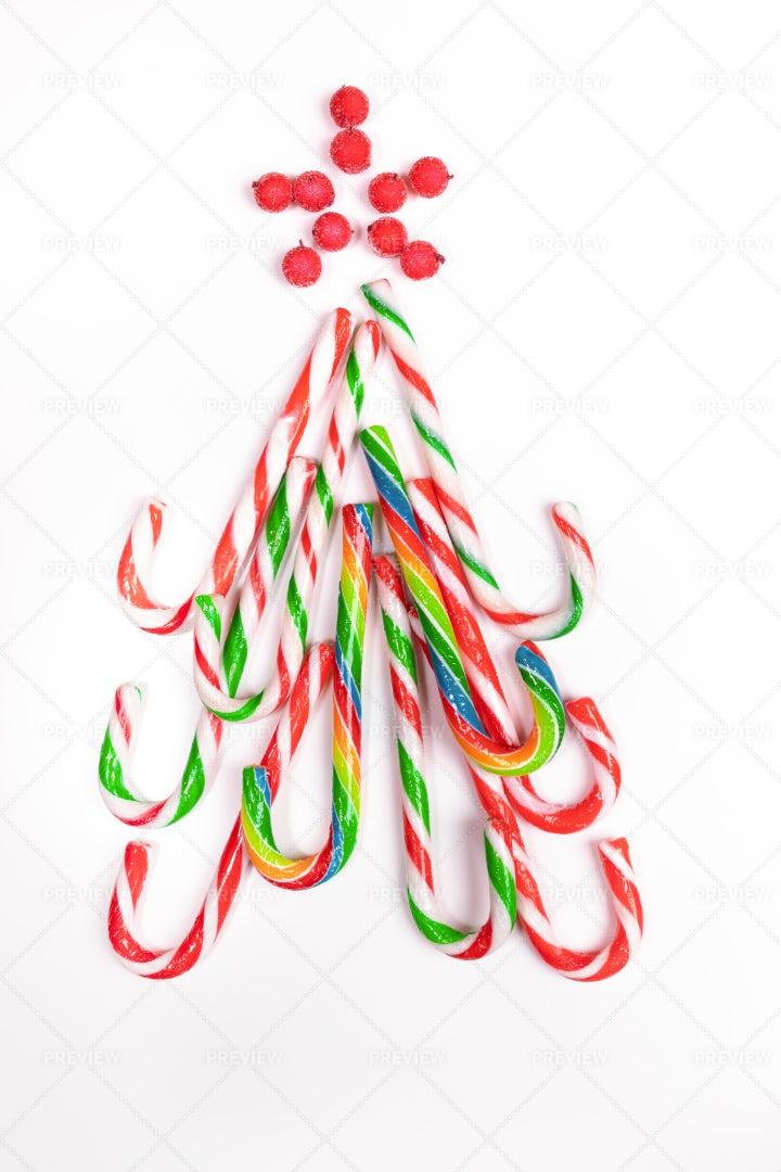 Christmas Canes As Xmas Tree.: Stock Photos