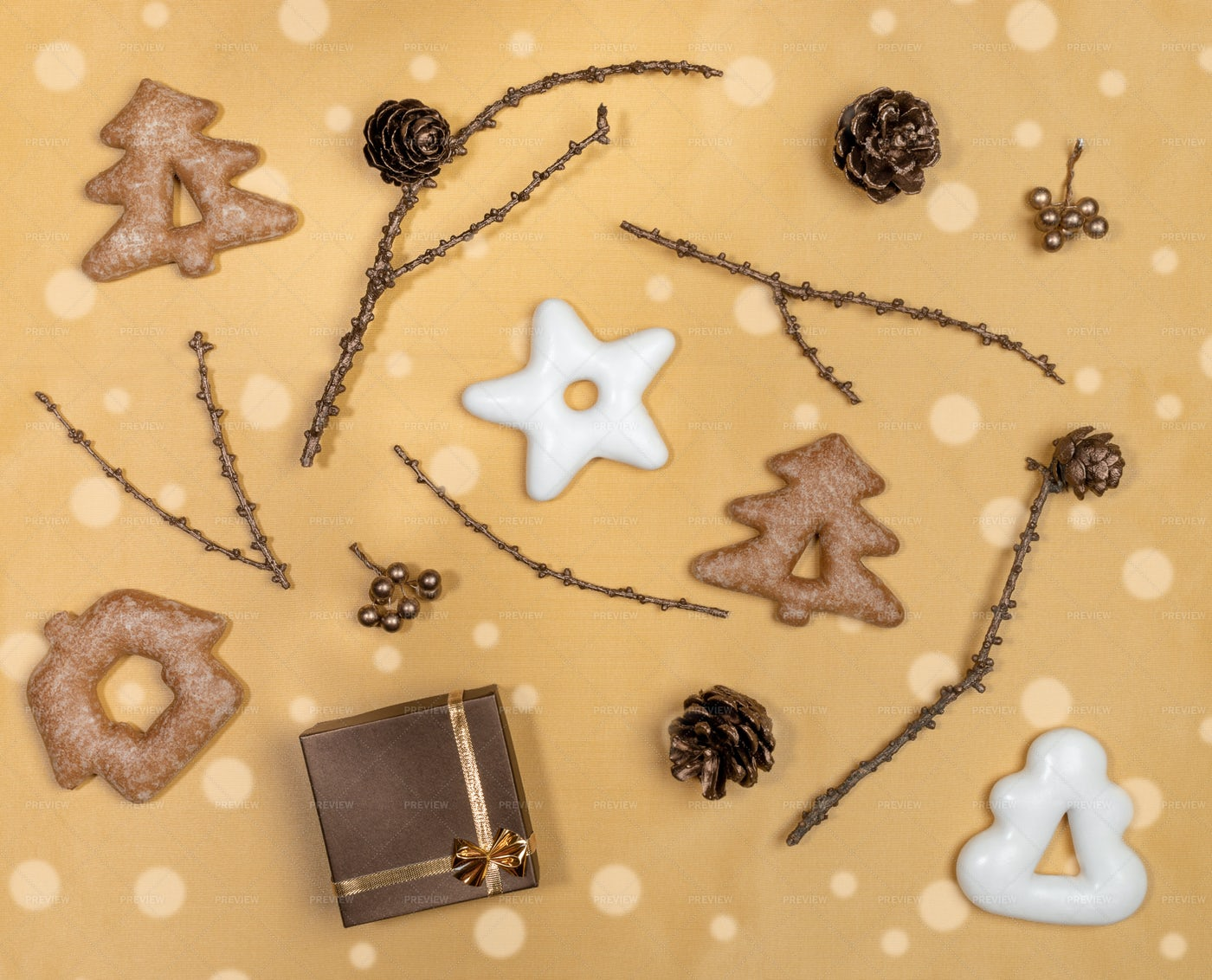 Christmas Golden Flat Lay Layout.: Stock Photos