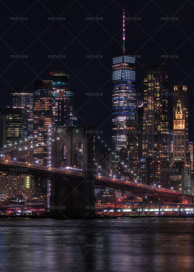 Financial District With Crescent Moon: Stock Photos