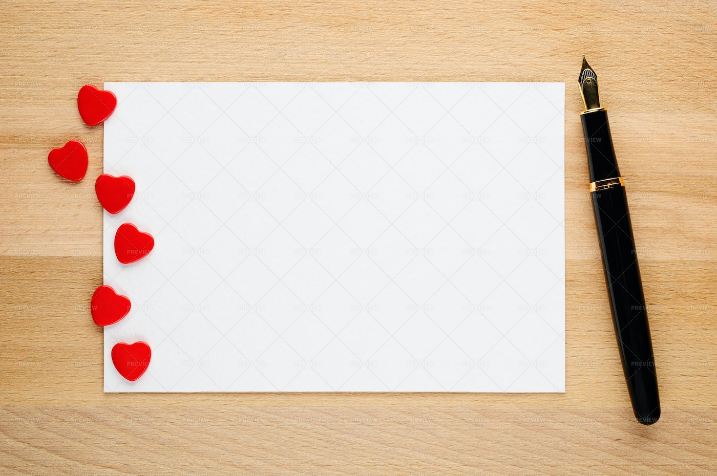 Blank Valentines Card, Hearts And Pen: Stock Photos
