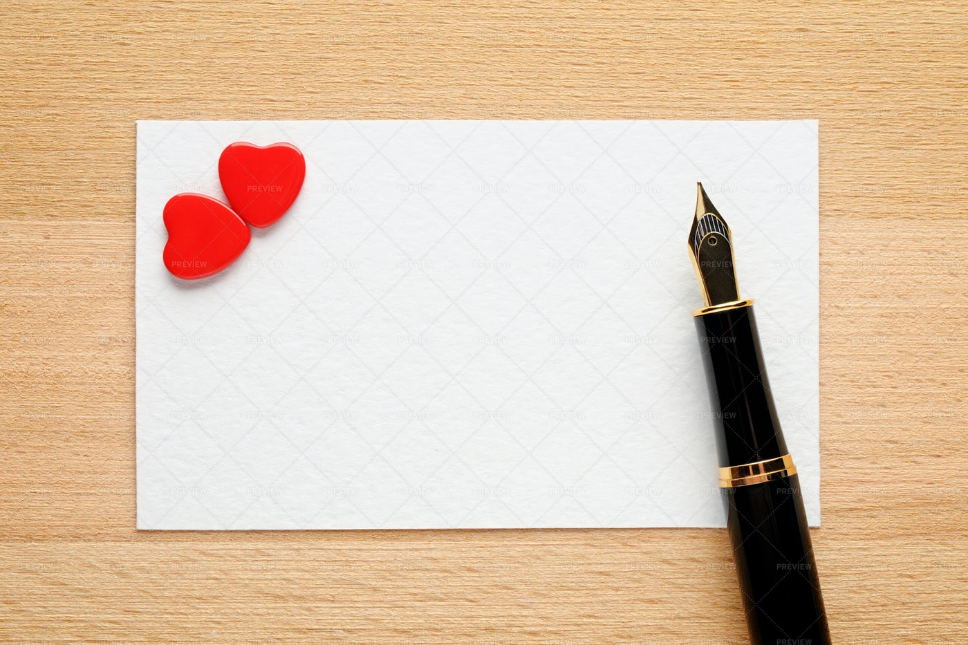 Blank Valentine Card With Hearts And Pen: Stock Photos