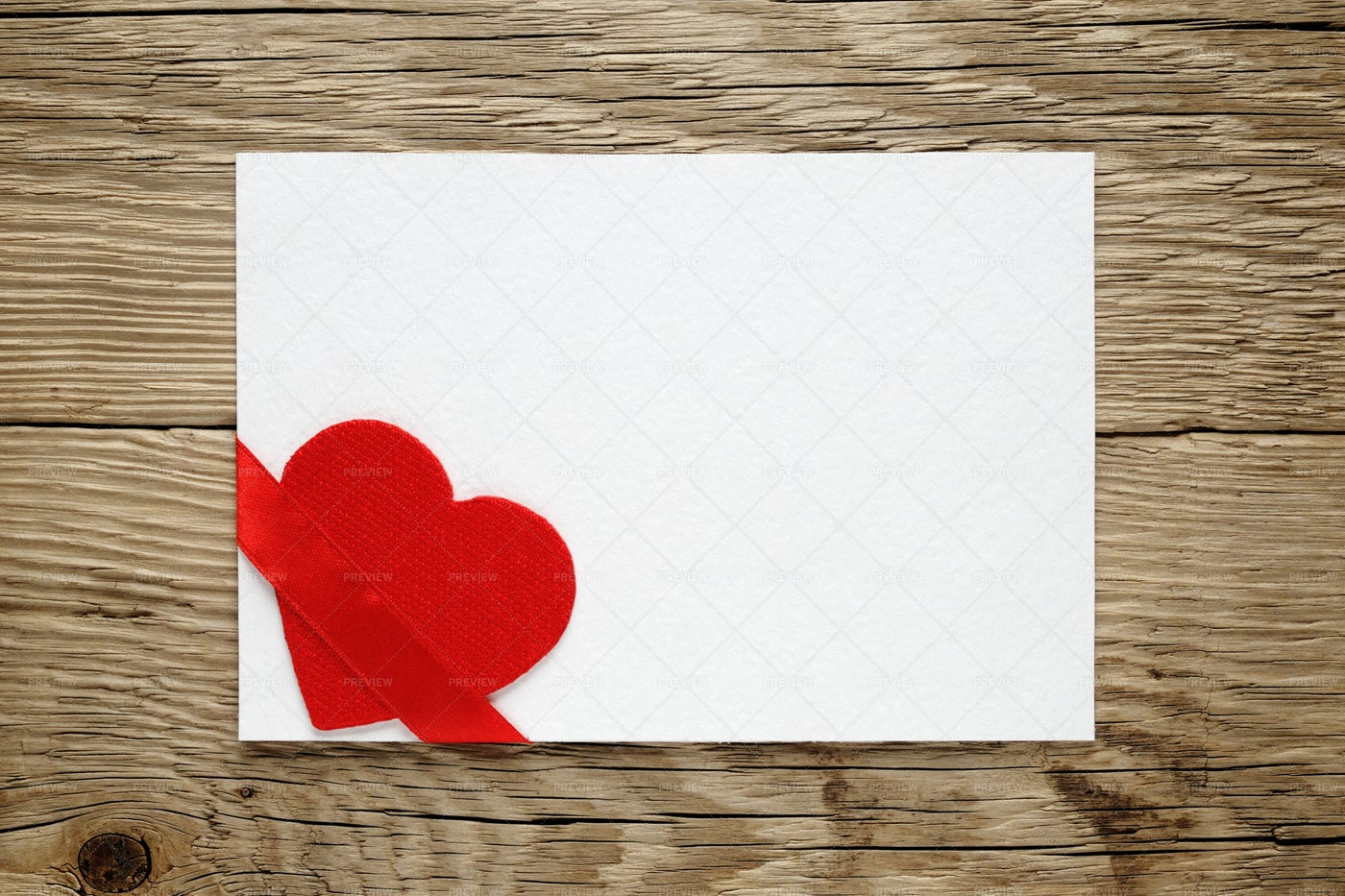 Valentine Card With Red Heart And Ribbon: Stock Photos