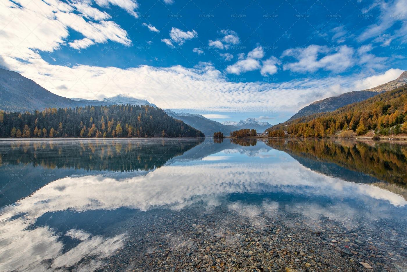 Mountain Landscape With A Lake: Stock Photos