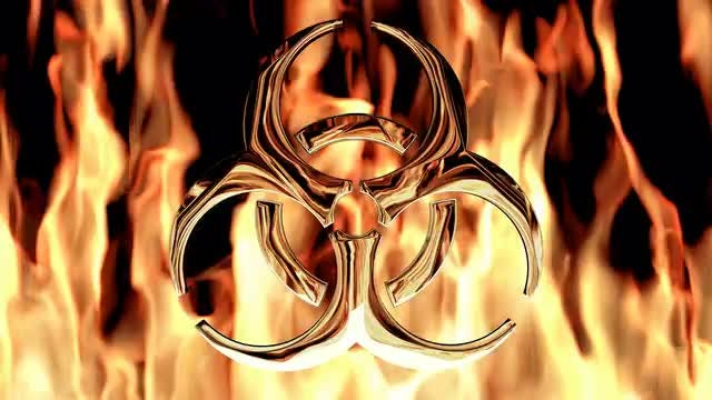 Flaming Bio-hazard Symbol: Stock Motion Graphics