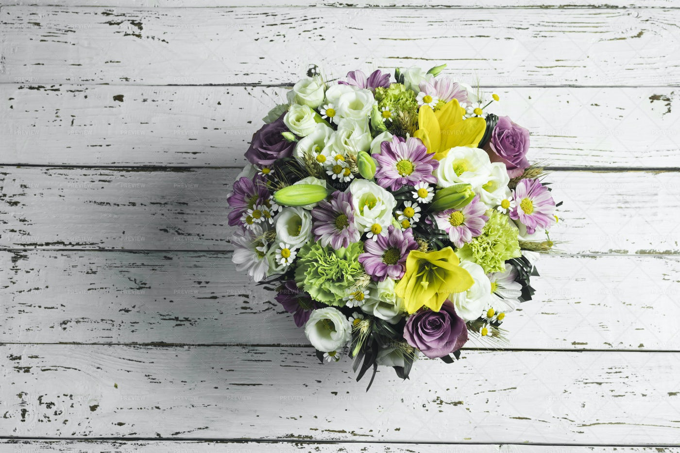 Flower Bouquet On Wooden Table: Stock Photos