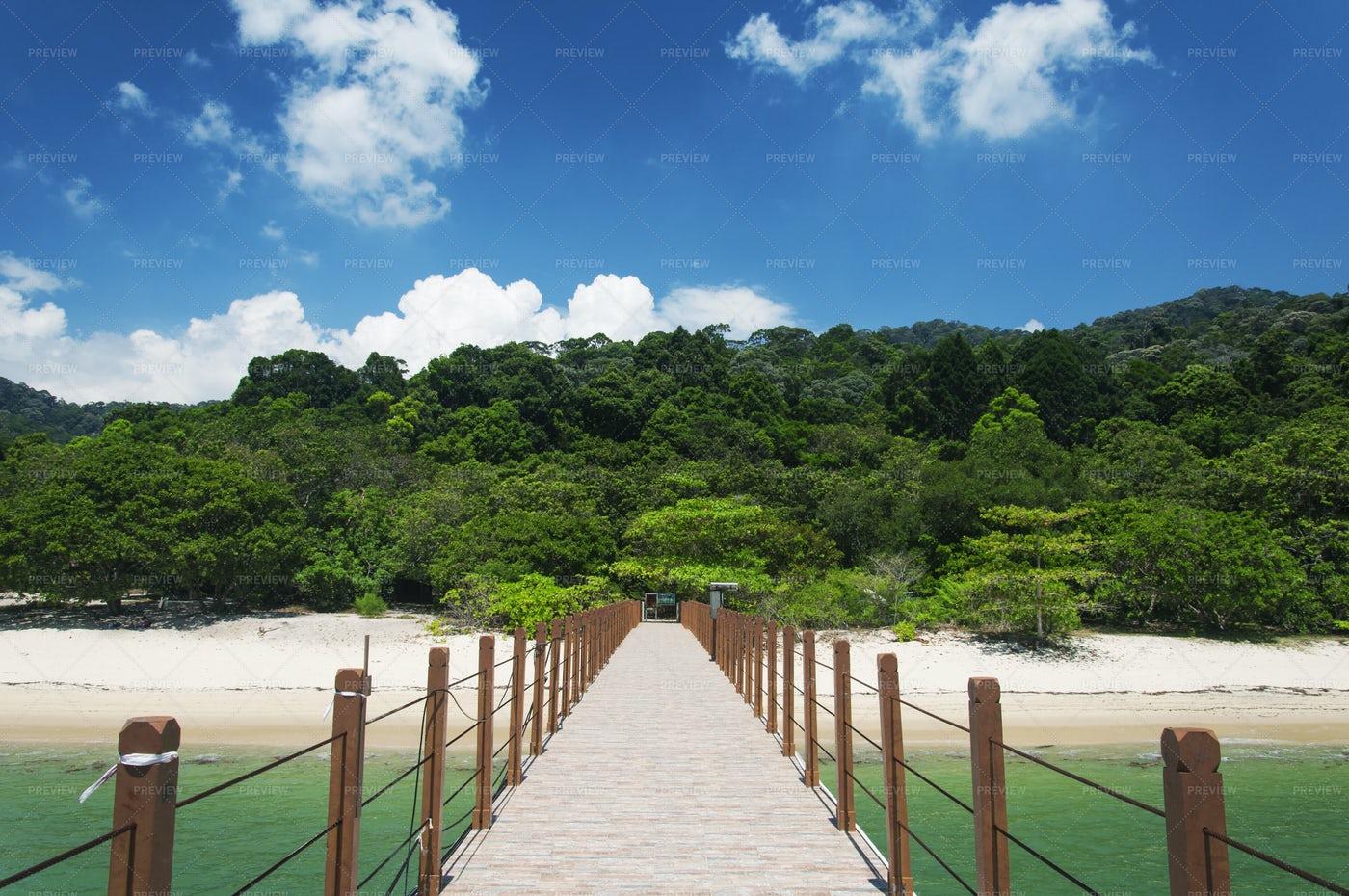 Kerachut Beach Pier Penang Malaysia: Stock Photos