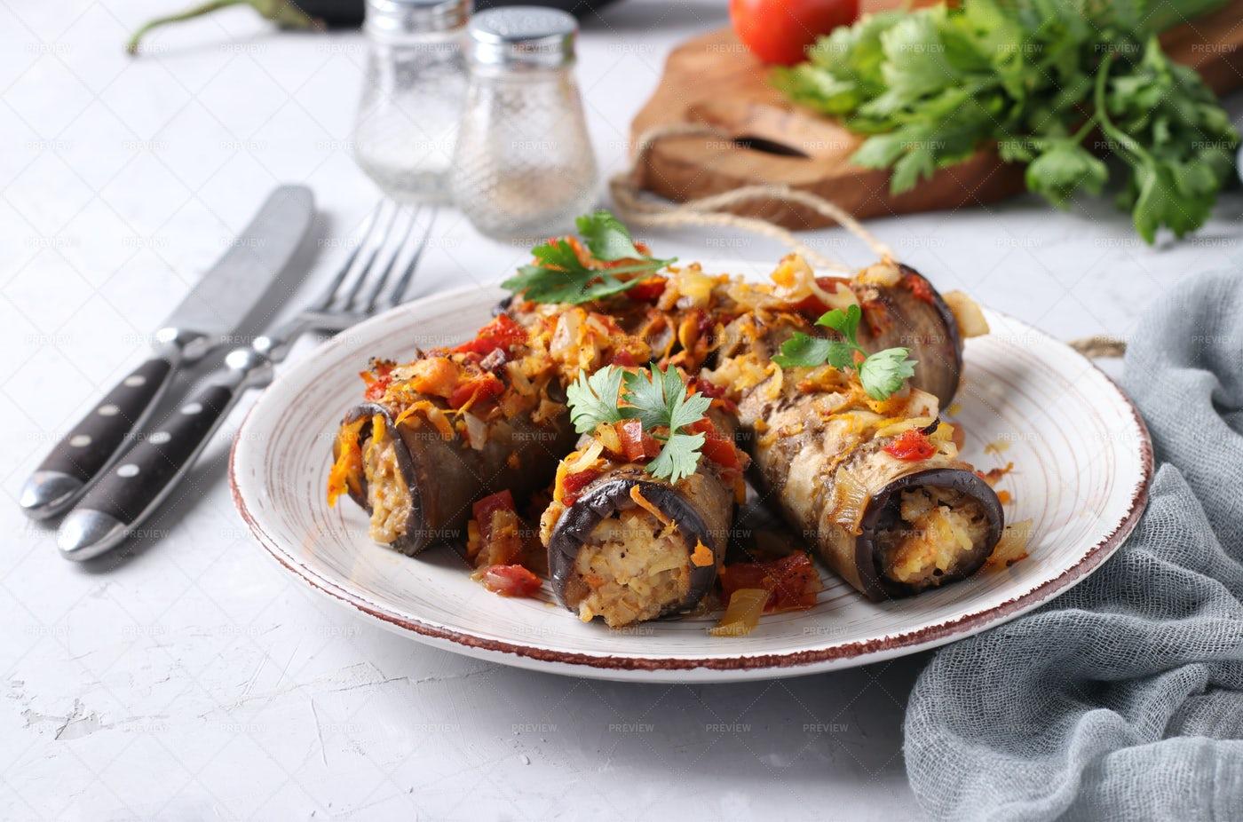 Baked Eggplant Rolls: Stock Photos
