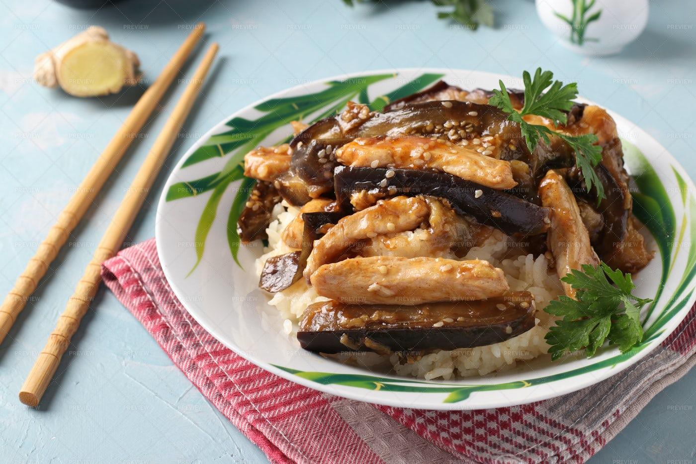 Chicken With Eggplant: Stock Photos