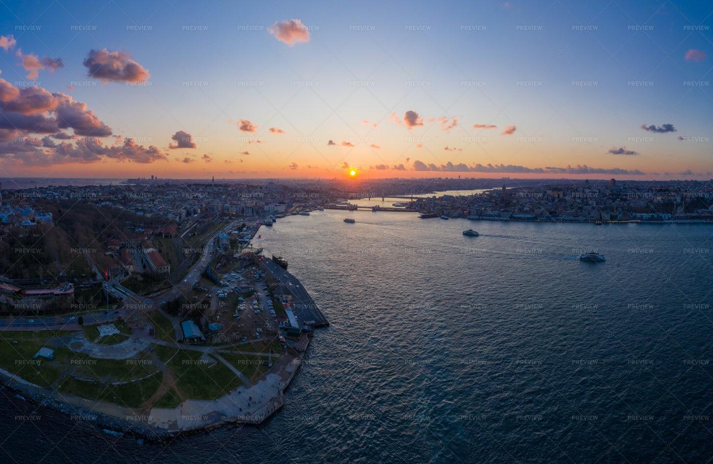 Istanbul City At Sunset.: Stock Photos