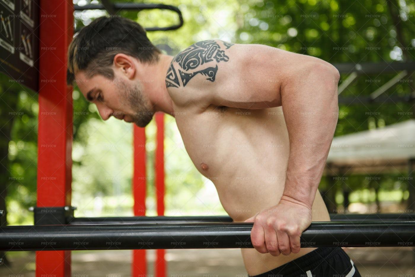 Strong Sportsman Exercising: Stock Photos
