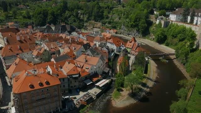 Aerial Shot of Cesky Krumlov, Czech Republic: Stock Video