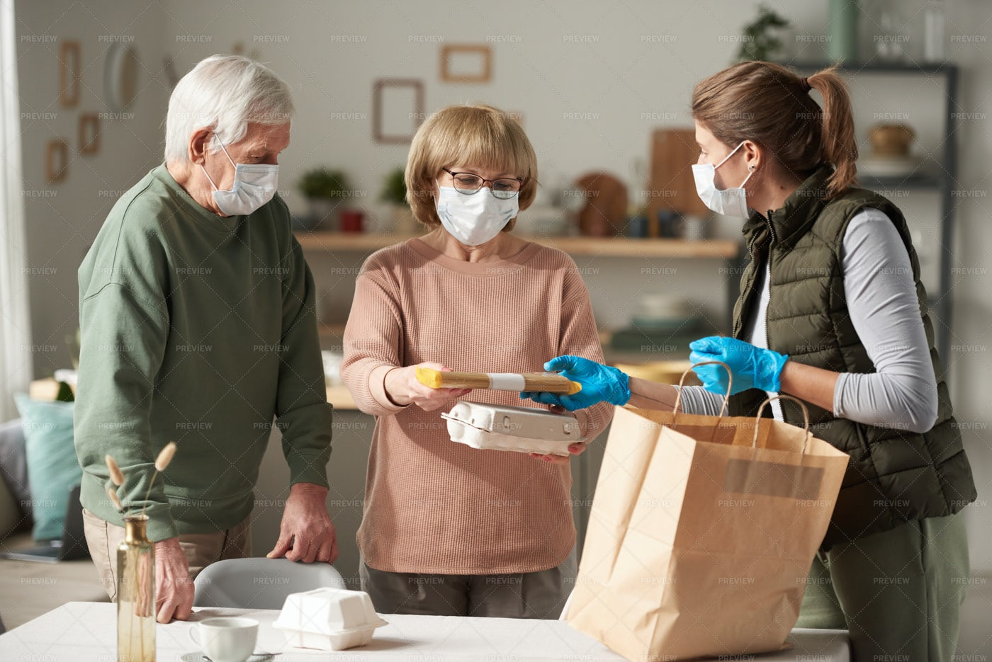 Delivering Food During Pandemic: Stock Photos