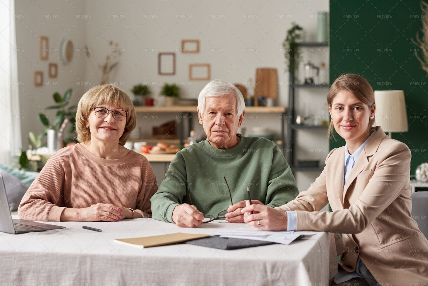 Senior Couple With Real Estate Agent: Stock Photos