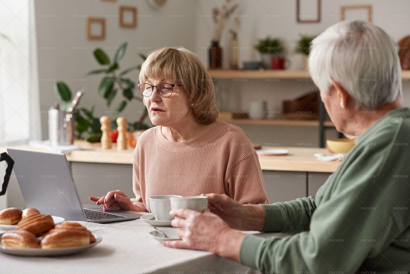 Senior Woman Working Online: Stock Photos