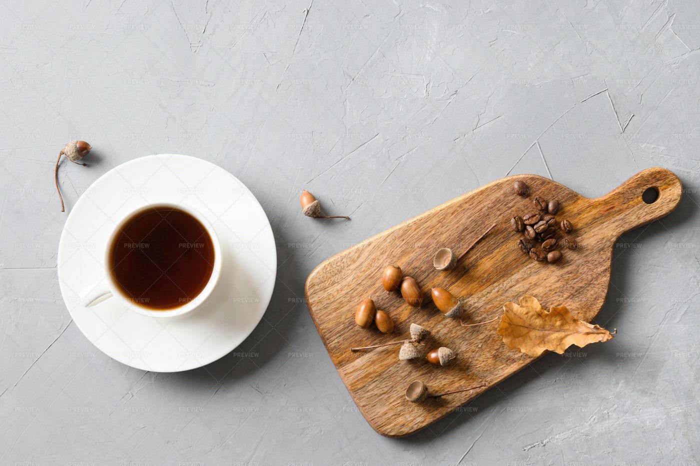 Acorns And Coffee: Stock Photos