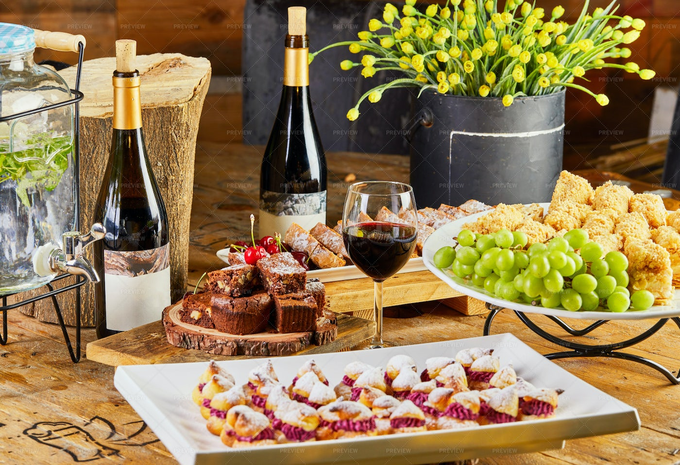 Table With Selection Of Cakes: Stock Photos