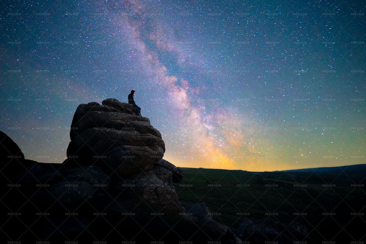 Stargazing The Milky Way: Stock Photos