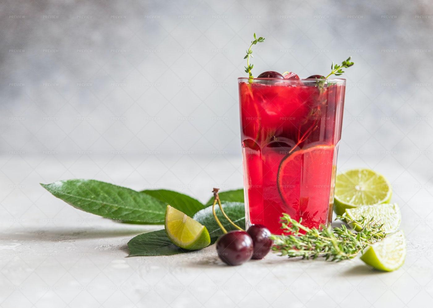 Glass With Cherry Lemonade: Stock Photos