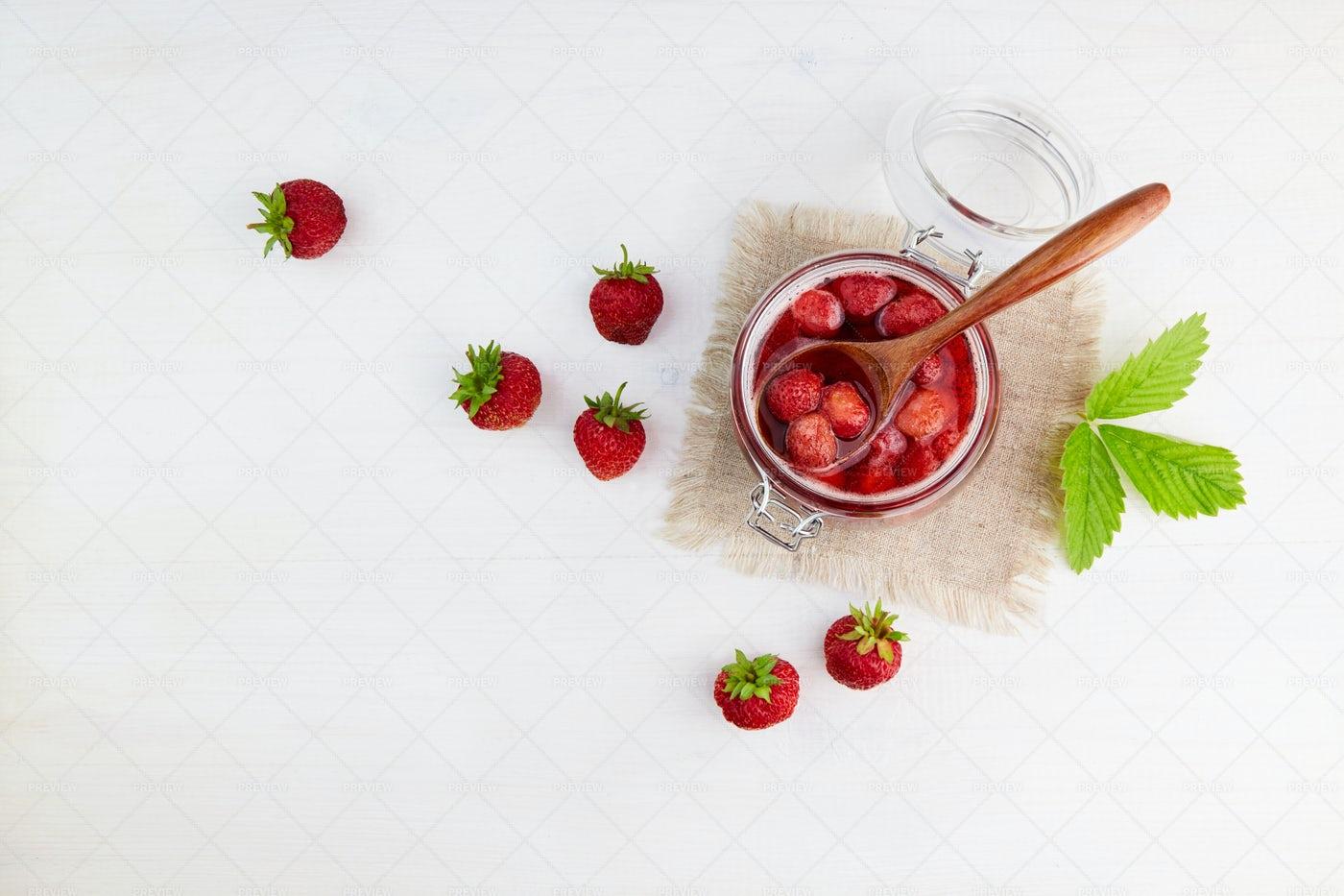 Strawberry Jam In A Glass Jar: Stock Photos