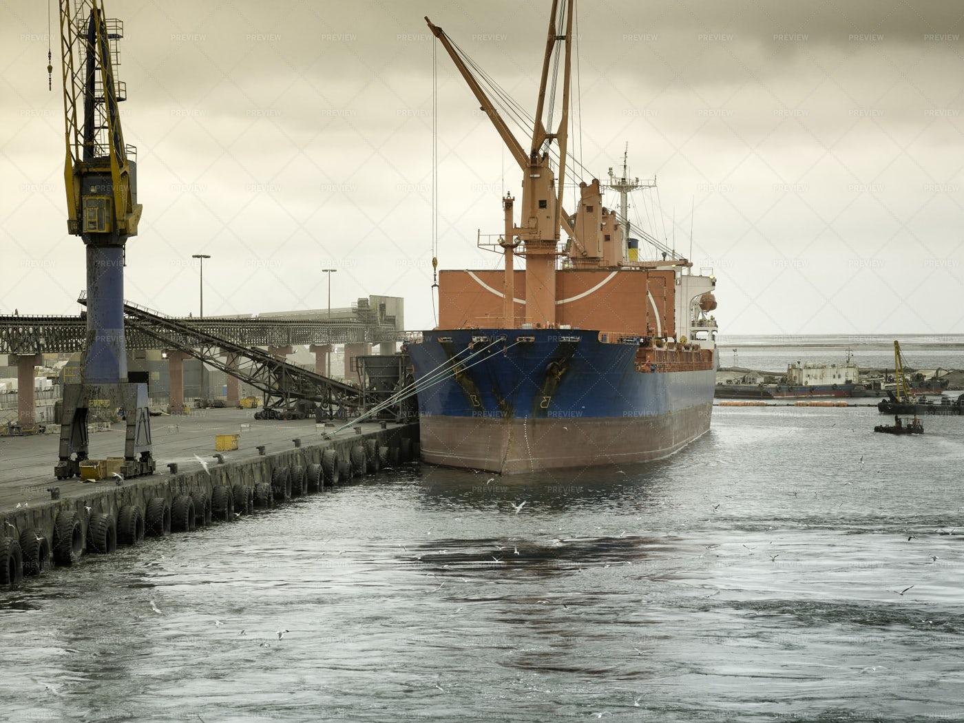 Cargo Ship Walvis Bay Port: Stock Photos