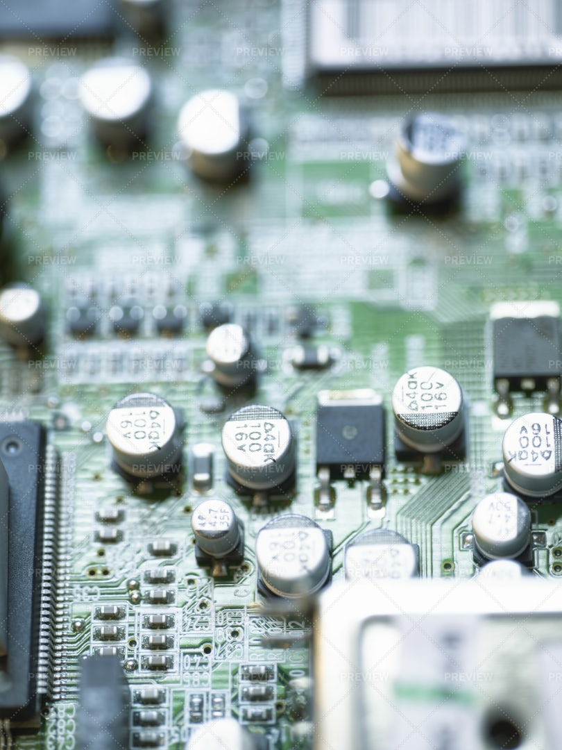 Electronic Microcircuit With Microchips: Stock Photos