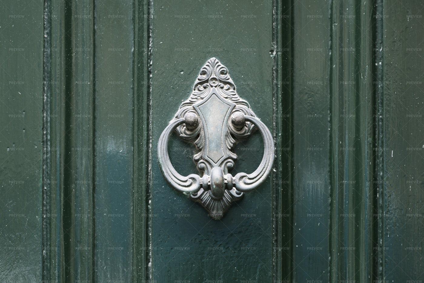 Vintage Antiqued Door Knocker: Stock Photos