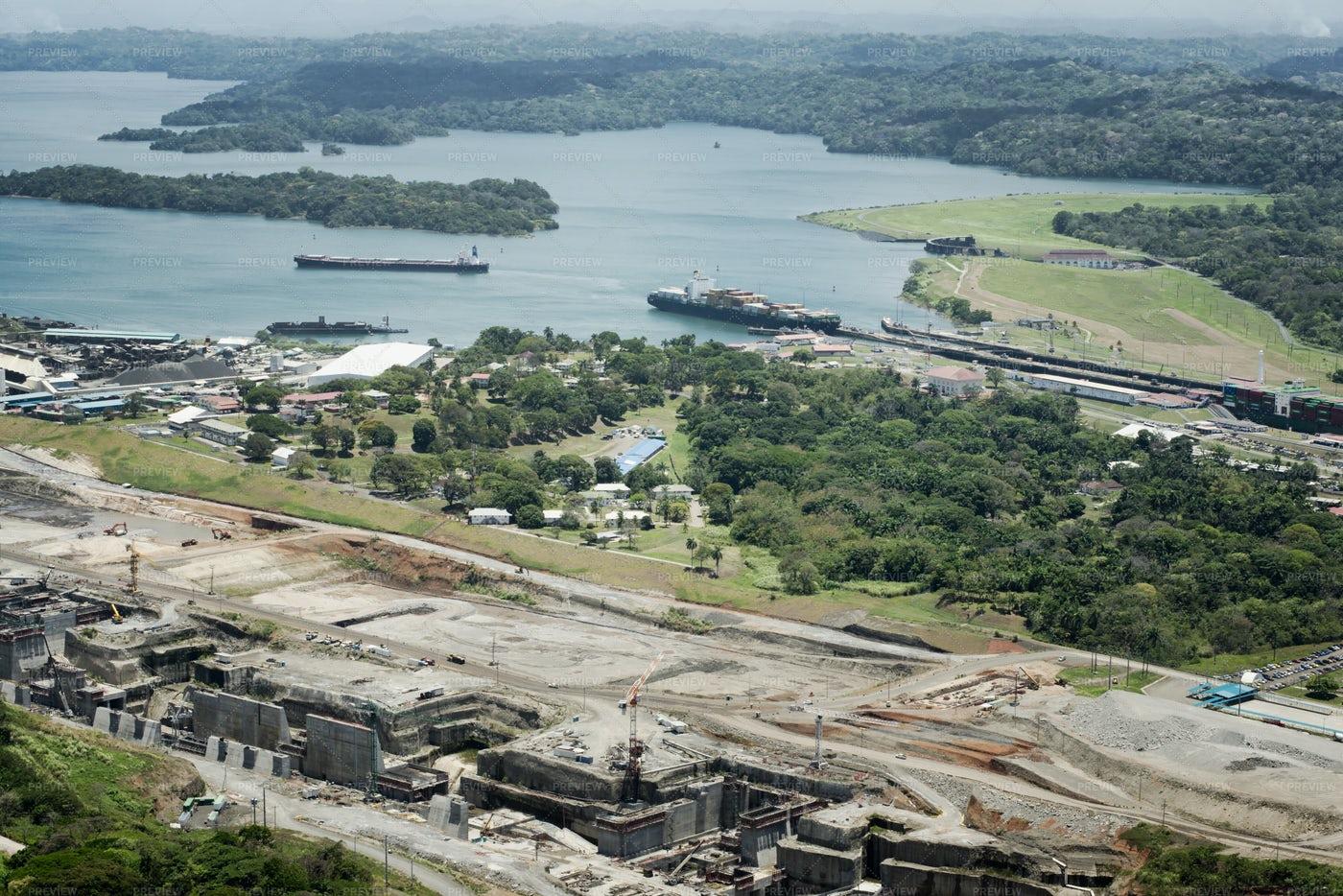 Cargo Ships At Gatun Lock: Stock Photos