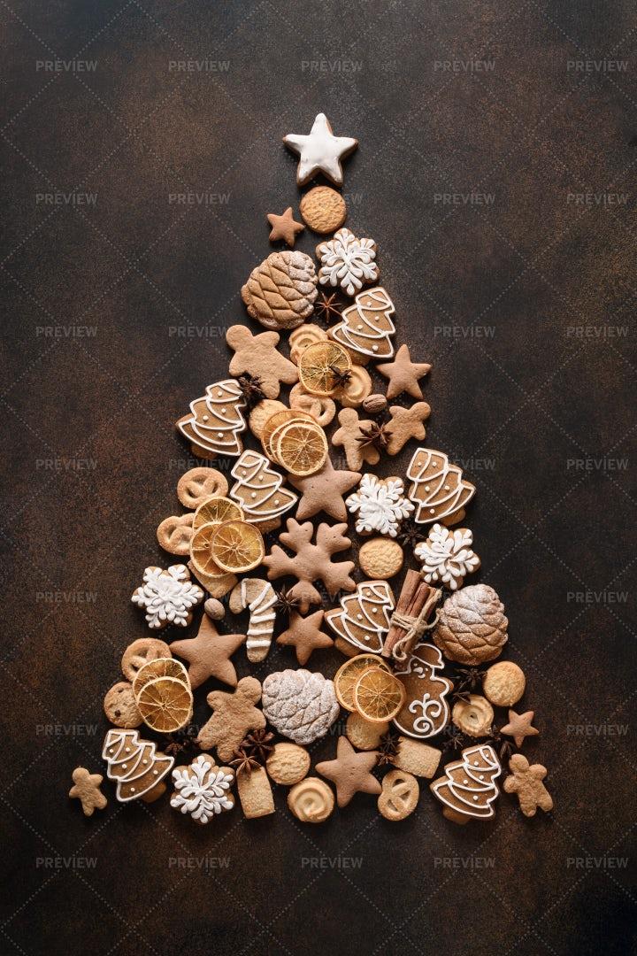 Tree Of Assorted Cookies: Stock Photos