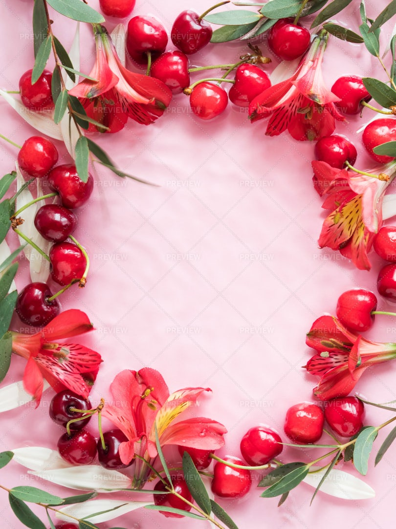 Cherry Frame With Flowers: Stock Photos