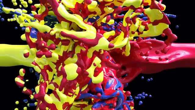 Color Paint Drops In Slow Motion: Stock Motion Graphics