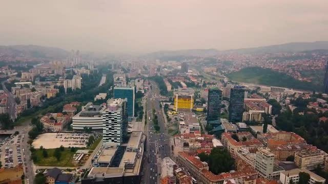 Busy City Streets Aerial: Stock Video