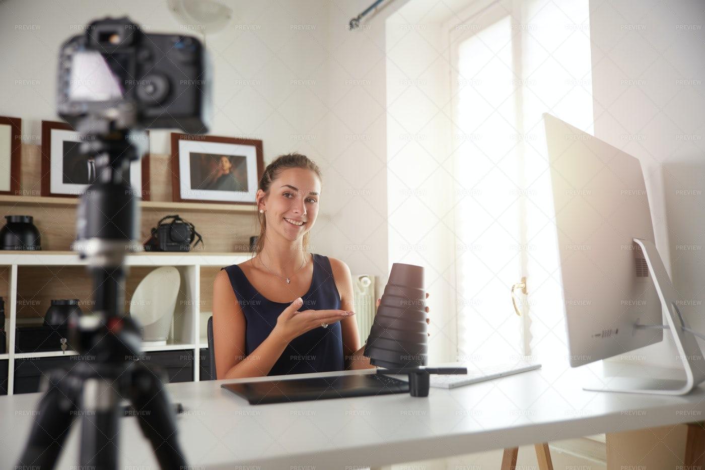 Woman Youtuber Record Vlog: Stock Photos