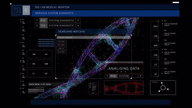 Hi-Tech DNA Interface Display: Stock Motion Graphics