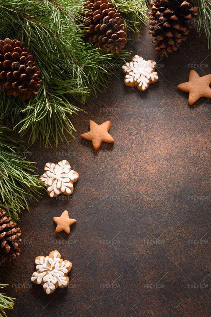 Christmas Homemade Glazed Cookies: Stock Photos