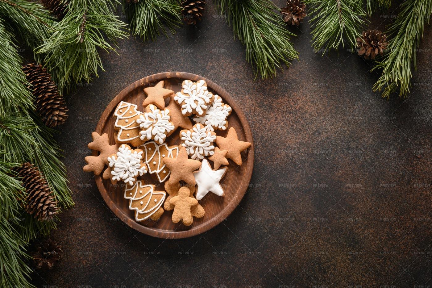 Christmas  Glazed Cookies: Stock Photos
