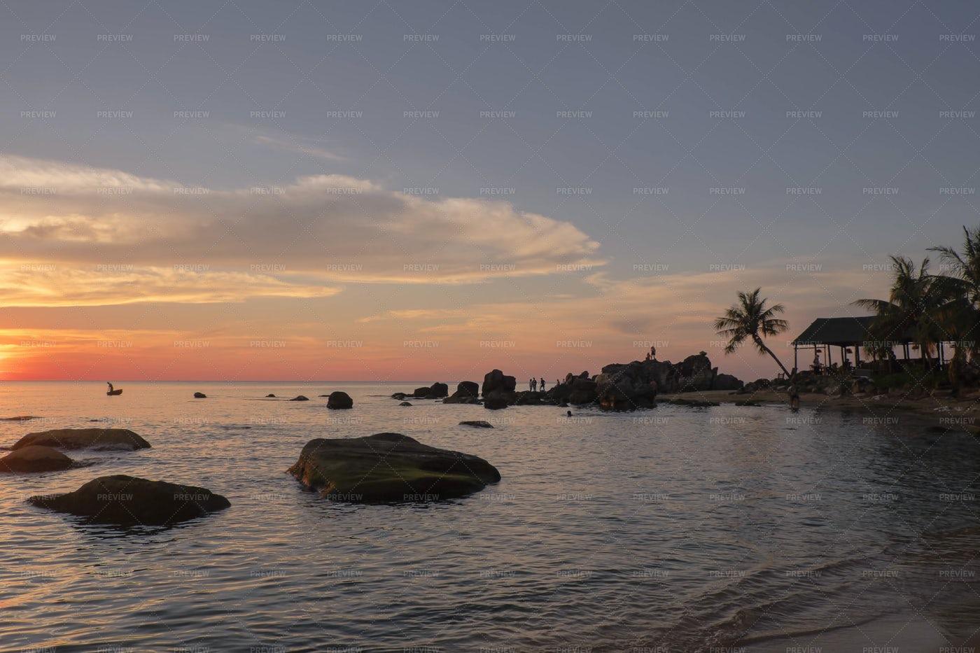 Beach On Sunset: Stock Photos