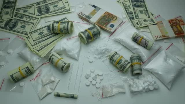 Illegal Drugs And Cash : Stock Video